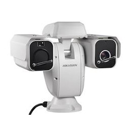 Outdoor dual sensor thermal network camera, 384x288 75mm thermal, 2MP Day/Night Darkfighter 32x optical, 500m IR, Advanced fire detection, audio in/out, IP66, 24VAC, 120W