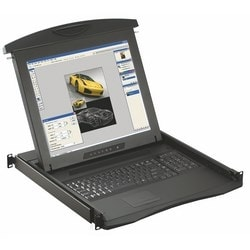 "CyberView 1U LCD Console Drawer, 1280 x 1024, 19"" Screen, UK Keyboard, Mouse"