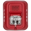 "Horn Strobe, Indoor, 12/24 Volt, ?5.6"" Length x 4.7"" Width x 2.5"" Depth, 32 to 120F, Wall Mount, Clear Lens, Red, FIRE Legend"