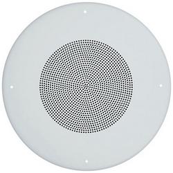 """Speaker, Indoor, 25/70 Volt, 2 Watt, 400 to 4000 Hertz, ?12.8"""" Diameter x 4.2"""" Height, Ceiling Mount, White"""