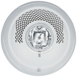 "Speaker Strobe, Indoor, 25/70 Volt Speaker, 12/24 Volt Strobe, 2 Watt, 400 to 4000 Hertz, 6.8"" Diameter x 4.5"" Height, Ceiling Mount, Clear Lens, White, Plain"
