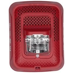 "Speaker Strobe, Indoor, 25/70 Volt Speaker, 12/24 Volt Strobe, 2 Watt, 400 to 4000 Hertz, ?6.5"" Length x 5"" Width x 3.9"" Depth, Wall Mount, Clear Lens, Red, FIRE Legend"