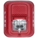 "Strobe, Indoor, 12/24 Volt, ?5.6"" Length x 4.7"" Width x 1.25"" Depth, 32 to 120F, Wall Mount, Clear, Lens, Red, FIRE Legend"