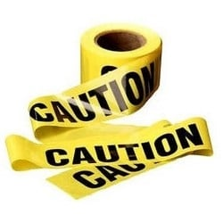 "Barricade Tape, Standard, Caution, 3"" Width x 300' Length x 2 Mil Thk, Polyethylene Film Backing, Yellow"