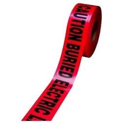 "Barricade Tape, Standard, Caution Buried Electric Line Below, 3"" Width x 300' Length x 4 Mil Thk, Polyethylene Film Backing, Red"