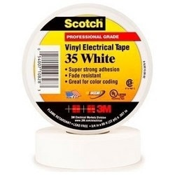 "Electrical Tape, Premium Grade, 1/2"" Width x 20' Length x 7 Mil Thk, 17 Lb/Inch Breaking Strength, Polyvinyl Chloride Backing, Rubber Resin Adhesive, White"