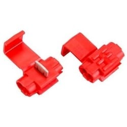 Insulation Displacement Connector, Double Run or Tap, 32 Volt, 22 to 18 AWG (Tap), 18 to 14 AWG (Run), Polypropylene Insulation, Red, For Low Voltage Application, Bulk