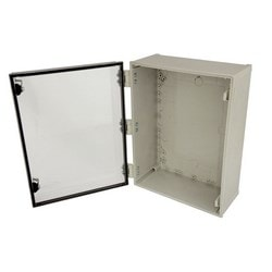 "14""x12""x6"" Poly Enclosure with Clear Door, Key Lock, 3 RPSMA Holes"