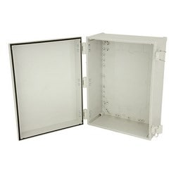"14""x12""x6"" Poly Enclosure with Solid Door, Latch Lock, 4 RPSMA Holes"