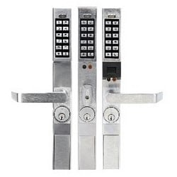 """Door Lock, Digital, Narrow Stile, Non-Handed, 100 User Code, 1-3/4"""" Door Thickness, Satin Chrome Plated, With Straight Lever Trim, Cylinder, For 4710, 4730, 4900 Series Adams Rite"""