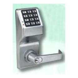 "Electronic Digital Lock, Keyless, 12-Button, 6/7-Pin Tumbler Cylinder, Lever Trim, 3-1/4"" Width x 8"" Height, Metal Keypad, Solid Brass Cylinder, Satin Chrome"