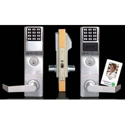 "Door Lock, Digital, Mortise, Right Hand, 300 User Code, 1-3/8 to 1-7/8"" Door Thickness, Satin Chrome Plated, With Straight Lever Trim, Cylinder, For Classroom"