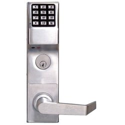 """Door Lock, Digital, Standard Key Override, Non-Handed, 200 User Code, 1-5/8 to 1-7/8"""" Door Thickness, Satin Chrome Plated, With Straight Lever Trim, Cylinder, For Privacy"""