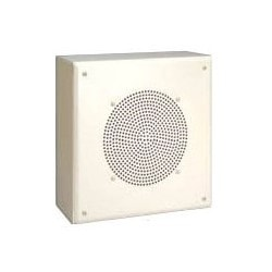 """Metal Box enceinte, carré/plat façade, 4 Watt, 110 Hertz à 15 Kilohertz, 96 dB sensibilité, 11-5/8"""" largeur x profondeur 4-1/4"""" x 11-5/8"""" hauteur, acier peint, écru"""
