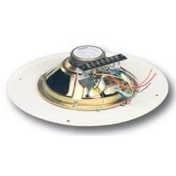 "Ceiling Speaker Grille Assembly, Recessed Volume Control, 95 dB SPL, 50 Hertz to 12 Kilohertz, 13"" Diameter x 3-1/4"" Depth, Steel Grille, Off-White, 6 Ounce Magnet"