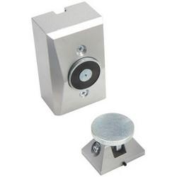 "Electromagnetic Door Holder, Surface/Wall, 24 VAC/DC, 120 VAC, 0.015A, 25 Lb, 2-3/4"" Width x 2-7/16"" Depth x 4-1/2"" Height, Die-Cast Metal, Powder Epoxy Aluminum"