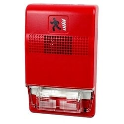 "Fire Alarm Horn and Strobe, 24 VDC, 87 dB, 30 to 120 Deg F, 2.75"" Width x 0.82"" Depth x 4.5"" Height, Color Impregnated Plastic Housing, White"