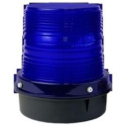 "LED Strobe, 120 VAC, 0.39A, 60 Hertz, 6.5"" Width x 7"" Height, Black Powder Coated Die-Cast Aluminum Base, Blue Polycarbonate Dome"