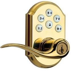 "Smart Code Lever, 1"" Bolt, Polished Brass, With Z-Wave Technology"