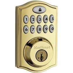 "Touchpad Electronic Deadbolt, Single Cylinder, Reversible, 2-1/8"" Diameter (Face Hole), 1"" Diameter (Latch Hole), 2-3/4"" x 2-1/8"" Corner Strike, 1"" Throw Steel, Polished Brass"