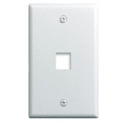 "Keystone Wallplate, 1-Gang, 1-Port, 2.94"" Width x 0.44"" Depth x 4.69"" Height, ABS Plastic, White, 25 per Bulk Pack"