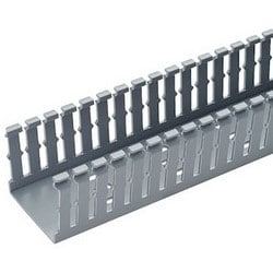 """Wiring Duct, Narrow Slot, 6' Length x 1.26"""" Width x 2.12"""" Height, 0.2"""" Slot Width, Lead-Free PVC, Light Gray, With Mounting Hole"""