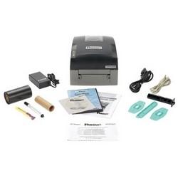 Trousse d'imprimante transfert thermique, comprend imprimante, logiciels, hybride d'étiquetage ruban noir, adaptateur secteur, câble USB, manuel de l'utilisateur, carte de démarrage rapide, rouleau de support, étiquette et disque de pilote
