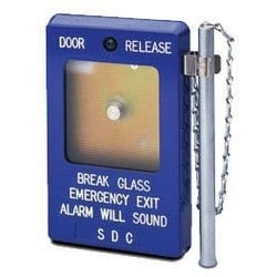 "Emergency Door Release, 2-SPDT, 10A, 3.5"" Width x 1.375"" Depth x 5.5"" Height, Break Glass, Aluminum Rod, Blue Housing, With 3 to 28 VDC 18 Milliampere Siren"
