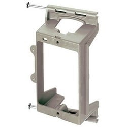 "Low Voltage Bracket, 1-Gang, 2.25"" Width x 3.75"" Height, Plastic, Gray, In-Wall Mount, With Nail"