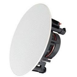 "In-Ceiling Speaker, 8 Ohm Impedance, 48 Hertz to 21 Kilohertz, 90 dB Sensitivity, 6.5"" Woofer, 9"" Diameter x 3.46"" Depth, Powder Coated Metal Grill"