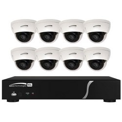 NVR and IP Camera Kit, Outdoor, Plug and Play, 8-Channel, Built-In PoE, 2 TB Memory, Dome, Dual Streaming, 8 Full HD, 1080p Resolution, IR Dome Camera, 2.8 MM Lens