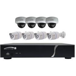 Digital Video Recorder and Camera Kit, 8-Channel Video Input, 4 HD-TVI 1080p Resolution IR Bullet/Dome Camera, 28/24 LED, H.264, NTSC/PAL Frame, 12 VDC, 5A, 2 TB