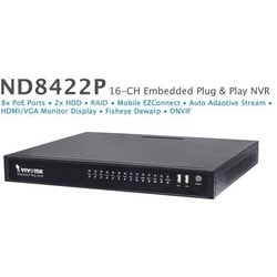 Network Video Recorder, Embedded Plug and Play, 16-Channel Video Input, H.264/MJPEG, 96 Mbps Video Record Throughput, 56 VDC, 2.32A, 120 Watt, 2 TB
