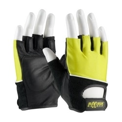 Lifting Gloves w/Reinforced Padded Leather Palm, Cotton Terry Back, Medium