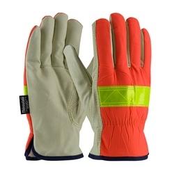 Hi-Vis Fabric, 3M Thinsulate Lining w/Pigskin Palm, Keystone Thumb, Large