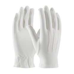 100% Cotton Dress Gloves, White, Open Cuff, Large