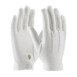 100% Cotton Dress Gloves, White, Snap Wrist Closure, Small