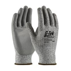 G-Tek PolyKor, Salt & Pepper Blended Shell, Gray PU Grip, EN3/A2, XL