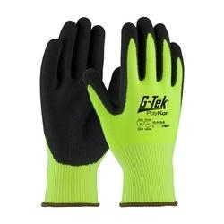 G-Tek CR, Hi-Vis Lime PolyKor 13G Shell, DD Black Nitrile, EN3, XL