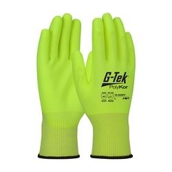 G-Tek PolyKor, Hi-Vis 13G Blended Shell, Hi-Vis Polyurethane Grip, A3, 2XL