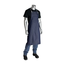 100% Cotton Blue Denim Bib Style Aprons, One Pocket, 28in.x36in.