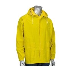 Rain Jacket .35mm PVC/Polyester, Hood, Corduroy Collar, Yellow, Small