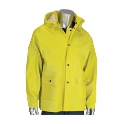 Rain Jacket .65 Ribbed PVC/Poly, Removable Hood, Yellow, 4XL