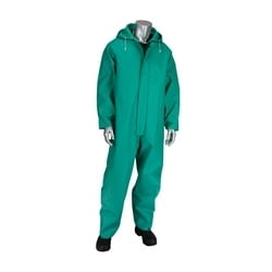 Rain Coverall .42mm PVC/Nylon/PVC, FR Treated, Hood, Inner Cuff, Green, 2XL