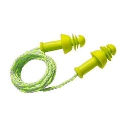 Flange/Disc Combo, Corded, 25 NRR, Lime TPE w/ Textile Cord, 100/Box