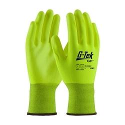 G-Tek, 13G HV Yellow. Poly Shell, HV Yellow PU Coating, 2XL