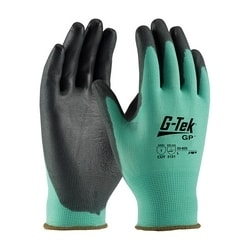 G-Tek, 13G Green Nylon Shell, Black PU Coating, XS