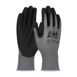 G-Tek GP, 13G Gray Nylon Shell, Black Nitrile MicroSurface Grip, Large