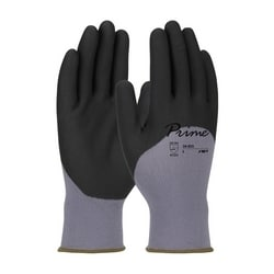 Prime, Gray Nylon Shell, Black Foam Nitrile Grip, 3/4 Dip, Touchscreen, Large