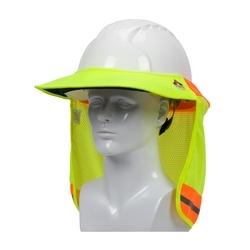 EZ-Cool Hard Hat Visor, FR Treated Elastic Back, Refl Tape, Hi Vis Yellow, Large